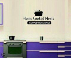 """Kimano Muurtekst """"Home cooked meals"""" S zwart"""