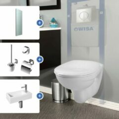 Witte Voordeelset bestaande uit: Adema toiletset, Differenz fonteinset, Geesa toilet accessoireset en Saniclass spiegel SW204235 / 38.010.00 / 91240002115 / 3878
