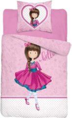 Blauwe B&B Slagharen Dekbedovertrek Meisjes - rode jurk - roze hart - 1persoons 140x200 - katoen - meisjes slaapkamer