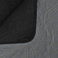 VidaXL Bedsprei dubbelzijdig 170x210 cm quilt grijs en zwart