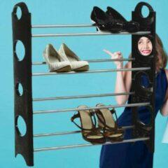 Zilveren Decopatent® Schoenenrek voor 12 Paar Schoenen - 4 Laags - Schoenenkast - Schoenen Organizer Rek - Metaal - Kunststof - 61x19x64 Cm