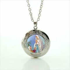 Van Santen Fashion Charm Jewelry Ketting met hanger Maria van Lourdes zilverkleur.(medaillon)