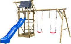 SwingKing Swing King speeltoestel hout met glijbaan Niels 380cm - blauw