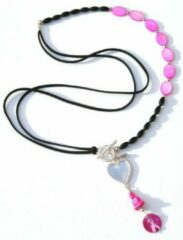Zwarte Jewellicious Designs Bright Pink Buddha & Black ketting voor Pink Ribbon