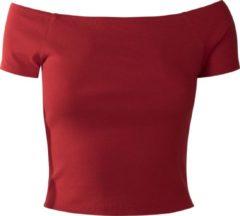 Urban Classics Ladies Off Shoulder Rib Tee Maglia donna rosso