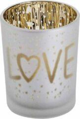 """Casibus Solutions THEELICHTHOUDER """"LOVE""""   GOUD ZILVER   D5,5XH7CM (per 3 stuks)   GLAS   ***VALENTIJN***"""