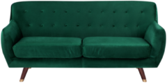 Donkergrijze Driezitsbank fluweel smaragdgroen BODO