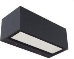 Zwarte LUTEC GEMINI MIDDELGROTE VIERKANTE LED BUITENWANDLAMP - WALL UP & DOWN - 1 LICHTS DONKERGRIJS IP 54