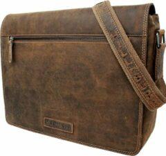 Bruine Hillburry tas - Leren schoudertas - Lederen grote messengertas - Buffel / Hunter leer