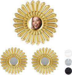 Relaxdays spiegel set zon - wanddecoratie - wandspiegel - rond - 25 cm - 3 x sierspiegel goud