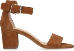 Manfield - Dames - Cognac suède sandalen met hak - Maat 40
