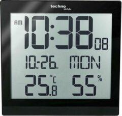 Zwarte Digitale tafel/wandklok - Datum, Temperatuur en binnen temperatuurweergave - Wekkerfunctie - Technoline WS 8015