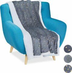 Relaxdays 1 x plaid 150x200 - deken - woonkamer - woondeken - op bank - grijs – sterren