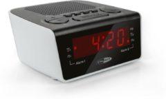 Zilveren Caliber HCG015 - Wekker met Fm radio en dual alarm - Zwart wit