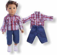 Rode Isa's Friends Poppenkleding jongen - Baby Born kleertjes o.a. - Poppenkleertjes 43 cm - Hemd met broekje - Gratis verzending