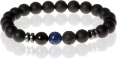 Zwarte Memphis Kralen armband Matte Agaat Blue Veins