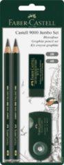 Faber Castell FC-119398 Potloodset Faber-Castell 9000 Jumbo 2B, 4B, Gum, En Sljiper