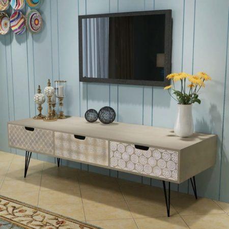 Afbeelding van VidaXL Tv-meubel met 3 lades 120x40x36 cm grijs