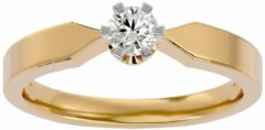 Aelra Joaillerie AËLRA 14K geel gouden modieuze damesring 0,10 ct natuurlijke ronde diamant