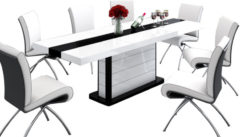 Hubertus Meble Uitschuifbare Eettafel Pianosa 160cm tot 260cm - Hoogglans Wit met Zwart