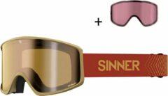 SINNER Sin Valley S Skibril - Zandkleurig - Goudkleurige Spiegellens + Extra Roze Lens