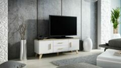 Maxima House LOTTA TV Meubel - TV Kast - Wit / Eiken - Scandinavisch Design - 45x140x40 cm