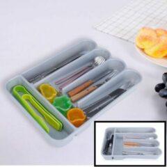 Decopatent® Besteklade - Met 5 Vakken - Bestekbak - Kunstof - Bestekbakken - Keukenla bestek organizer - 26 x 35.3 x 4.9Cm - Grijs