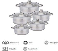Royal Swiss Set van 5 INOX-potten, GESCHIKT VOOR ALLE INDUCTIELICHTEN