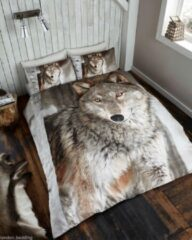 Bruine Gaveno Cavailia Wolf lits jumeaux dekbedovertrek, Wolven dekbed 240 x 220 cm.