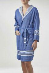 Blauwe Lalay Hamam Badjas Sun Royal Blue - Maat S - Korte Sauna Badjas Met Capuchon - Korte Ochtendjas - Korte Duster - Dunne Badjas - Luxe Badjas - Dames Badjas - Badmantel