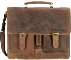 Vintage Aktentasche Leder 40 cm Laptopfach Greenburry braun