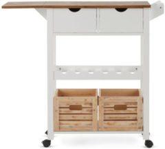 Küchenrollwagen Levi miaVILLA weiß/braun