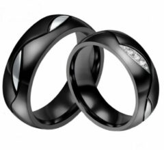 Zoëies® ring voor hem zwart met zilverkleurig motief 18 mm