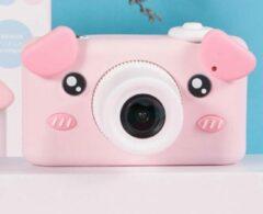 KOOOL Sakura-varken Digitale Kindercamera 2600W HD & 2.5 uur lang 1080*1920 HD-video & Slimme Systeem inclusief Micro SD Kaart 32GB & Zachte siliconen beschermhoes - Getimede foto & Continu fotograferen - Compact Fototoestel Kinderen - Vlog Camera