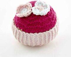 Pebble rammelaar - Cupcake roze met bloemen