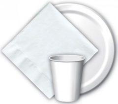 Merkloos / Sans marque 16x Witte papieren feest bekertjes 256 ml - Wegwerpbekertjes wit van papier - themafeest tafeldecoratie