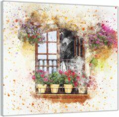Roze KuijsFotoprint Plexiglas –Geschilderd Raamvenster met Bloempotten– 50x50 (Wanddecoratie op Plexiglas)