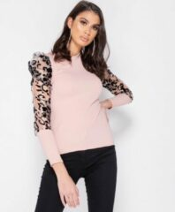 Parisian Sheer Flock Print Organza Sleeve High Neck Top - Dames - Roze Sheer Flock Print Organza Sleeve High Neck Top - Dames - Roze Dames Jurk Maat EU34