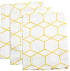 Witte Briljant Baby Briljant Grid Okergeel Hydrofiel Washandjes 3 stuks 101R