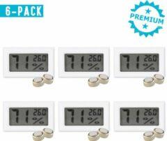 Qitch & Quisine Hygrometer Met Batterijen - Wit - Inclusief Thermometer - Digitale Luchtvochtigheidsmeter - Voor Binnen & Buiten - 2 in 1 - Set van 6