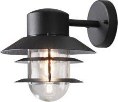 Konstsmide Buitenlamp 'Modena' Wandlamp, lamel down, E27 / 230V, kleur Zwart