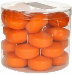 Enlightening Candles 28x Oranje drijfkaarsen 5 cm 4 branduren - Geurloze kaarsen oranje - Woondecoraties kaarsen