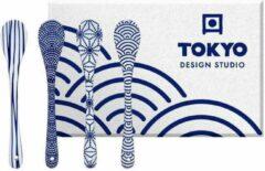 Blauwe Tokyo Design Studio Nippon Blue Lepelset - 4 stuks - Porselein