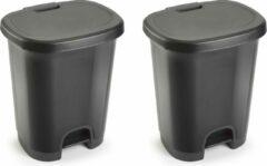 Forte Plastics Set van 2x stuks kunststof afvalemmers/vuilnisemmers/pedaalemmers in het donkergrijs van 27 liter met deksel en pedaal. 38 x 32 x 45 cm.