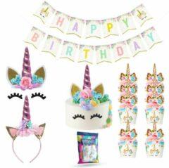 Fissaly® 53 Stuks Roze Eenhoorn Verjaardag Decoratie Versiering – Unicorn Topper Set – Kinderfeest – feest