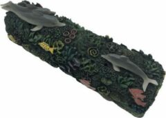Peperbol Wierook houder koraal met vis en dolfijn - wierook slede - wierook brander - wierook box