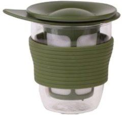 Hario theeglas met theezeef olijfgroen 200ml