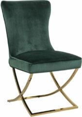 Richmond Interiors Richmond Eetkamerstoel 'Scarlett' Velvet, kleur Groen / Goud