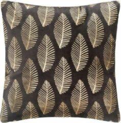Anders Tropic fluwelen kussen - 40 x 40 cm - Goud en grijs