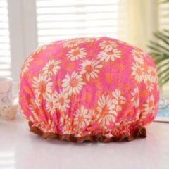 AfricanFabs Afabs® XL Extra grote Douchemuts / Shower cap / Douchekapje / Douchecap voor vol haar / krullen / afro - Oranje / roze met bloemen